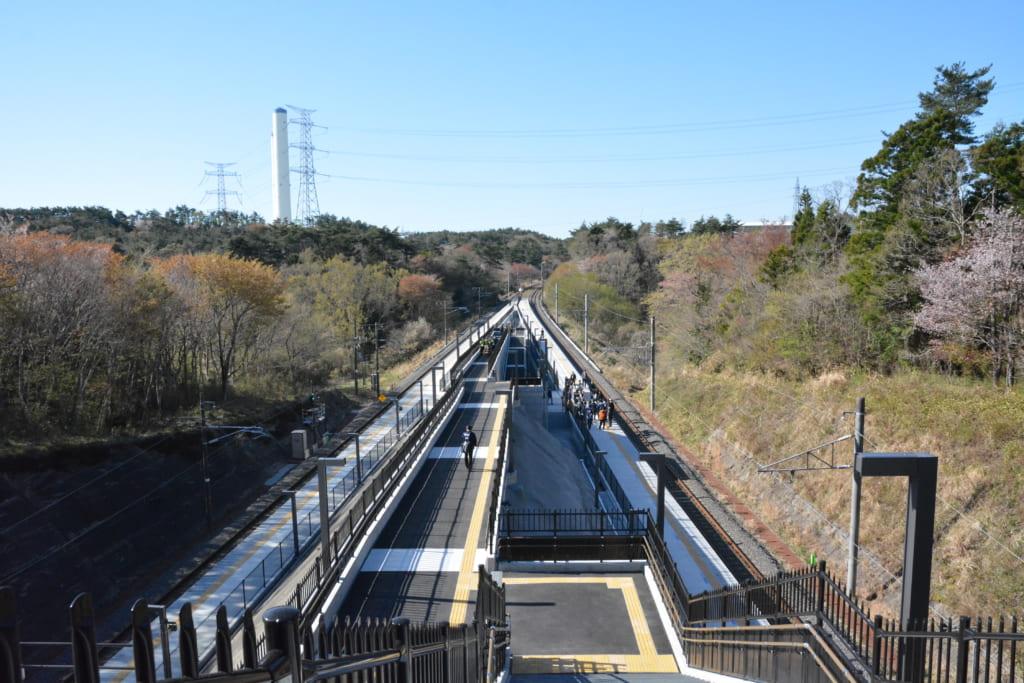 「Jヴィレッジ」駅ホームの景観です
