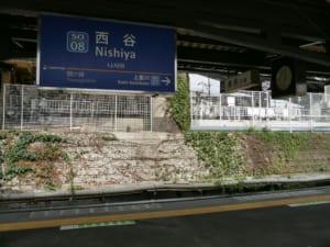 西谷駅駅名標と乗車位置表示